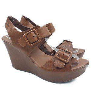 Kork Ease Leather Susie Strappy Sandal Wedge Heels